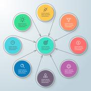 Circular infographic with central element. Minimalistic diagram. Stock Illustration