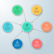 Circular infographic with central element. Minimalistic diagram. - stock illustration