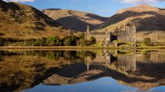 Kilchurn Castle reflected in Loch Awe, Strathclyde, Scotland, United Kingdom, Stock Photos
