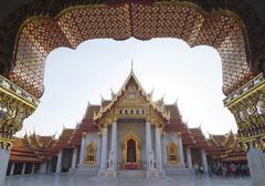 The Marble Temple (Wat Benchamabophit), Bangkok, Thailand, Southeast Asia, Asia - stock photo