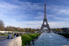 Eiffel Tower and Trocadero Fountains in autumn, Paris, France, Europe Stock Photos