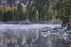 Rock Creek Lake in the fall with fog, Inyo National Forest, California, United - stock photo