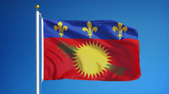 Guadeloupe flag in slow motion seamlessly looped with alpha Stock Footage
