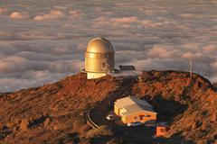 Observatory on Roque de los Muchachos at sunset, Parque Nacional de la Caldera - stock photo
