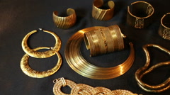 Set of Beautiful Oriental gold jewelry (Indian, Arab, African, Egyptian) Stock Footage