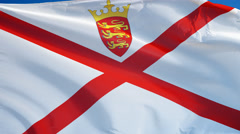 Jersey flag in slow motion seamlessly looped with alpha Stock Footage