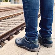 waiting for the train - stock photo