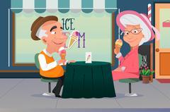 Couple Eating Ice Cream - stock illustration