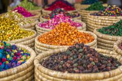 Herbs for sale in a stall in the Place Djemaa el Fna in the medina of Marrakech, Stock Photos