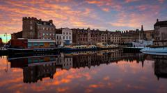 The Shore at sunrise, Leith, Edinburgh, Scotland, United Kingdom, Europe - stock photo