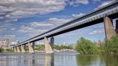 The world's longest metro bridge, Time lapse. Russia, Novosibirsk - stock footage