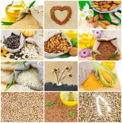 Healthy food collage Stock Photos