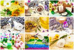 Spa set with aroma oil, sea salt, flowers, lavender, plants, towel, soap, sto - stock photo