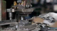Work makes steel detail of on the machine Stock Footage