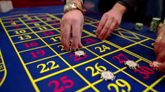 Betting chips - Casino Roulette People playing Roulette in a Casino - stock footage
