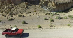 Dry, desert mointainous landscape. High visual of dry panorama with dirt road. Stock Footage