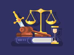 Court and law concept flat Stock Illustration