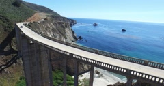 Car Tracking on Bixby Bridge Stock Footage