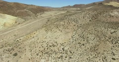 Dry, desert mointainous landscape. High perspective of dry panorama. Patagonia. Stock Footage