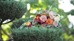 Closeup shot of beautiful wedding bouquet Stock Footage