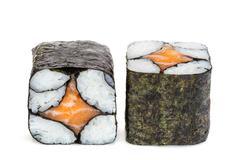 Simple sake maki sushi, two rolls isolated on white Stock Photos