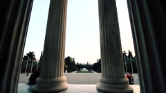 Columns and cityscape in athens dolly camera Stock Footage
