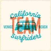 Retro Print Style Surfing Vector Label or Logo Template. Surf Van with Surfboard - stock illustration