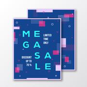 Mega Sale Season Poster, Card or Flyer Template. Modern Abstract Flat Swiss Stock Illustration