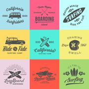 Vector Retro Style Surfing Labels, Logos or T-shirt Graphic Design Featuring - stock illustration