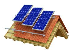 Solar panels roof 3D rendering Stock Illustration