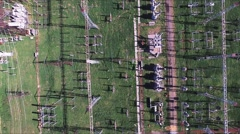 Aerial view. Electrical distribution station, transformers, high-voltage lines Stock Footage