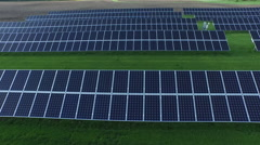 Solar panels drone pan right Stock Footage