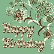 Vintage retro happy birthday card, with fonts, grunge frame and chevrons. Bea - stock illustration