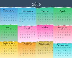 Simple colorful calendar for 2016. Week starts Sunday. Vector - stock illustration