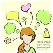 Silhouette of a beautiful girl with thoughts about everything. Vector - stock illustration
