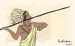 Apache Indian warrior throwing a spear. Corporate identity sketch. Vector Stock Illustration