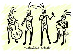 Abstract mysterious musicians. Corporate identity sketch. Vector Stock Illustration