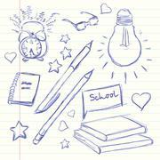 Hand drawn back to school. Alarm Clock, glasses light, diary, pencil, book he - stock illustration