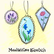 Necklace, medallions around his neck woman with a flower. Vector - stock illustration