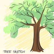 Lonely green tree. Corporate identity is drawn by hand. Vector - stock illustration