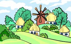 Summer landscape of the village. on the hill stands a mill and house. hand-dr - stock illustration