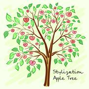 Stylized apple tree with lonely mysterious fruits. Vector - stock illustration