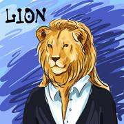 Portrait of a leader. Beautiful lion in a suit hand-drawn. Individual corpora - stock illustration