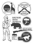 Safari in Africa. Giraffe, rhino, cheetah and hunter with weapon. Vintage sty - stock illustration