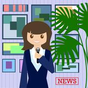 Woman journalist with microphone is a news service on the background of paint - stock illustration