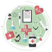 Thin line flat design of city medicine services, medical supplies, ambulance  Stock Illustration