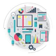 Icons of search engine optimization service, SEO data analytics and keyword p - stock illustration