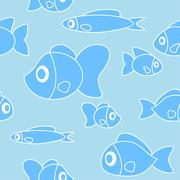 Seamless pattern with fish in cartoon style. Vector Stock Illustration