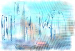 Detroit abstract illustration Piirros