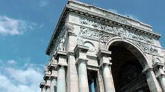 Genova city Arc of Triumph Stock Footage